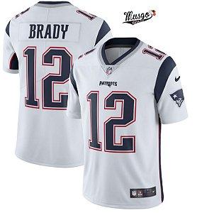 Camisa Esportiva Futebol Americano NFL New England Patriots Tom Brady Numero 12 Branca