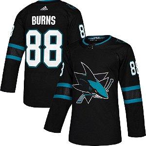 Camisa Esportiva Hockey NHL San Jose Sharks Black Burns Numero 88 Preta e Verde