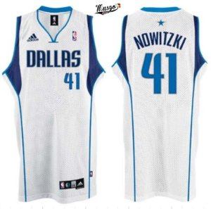 Camiseta Regata Esporte Basquete NBA Dallas Mavericks Dirk Nowitzki Numero 41 Branca