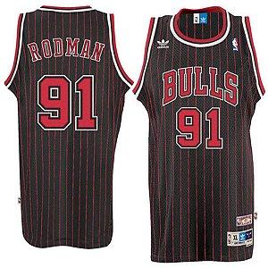 Camiseta Esportiva Regata Basquete NBA Chicago Bulls Rodman Numero 91 Listrada