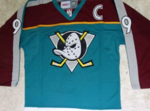 Camisa Esportiva Hockey NHL Anaheim Ducks Super Patos Royal Paul Kariya numero 9