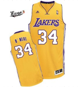 Camiseta Regata Esportiva Basquete NBA Los Angeles Lakers Shaq O'Neal Número 34 amarela