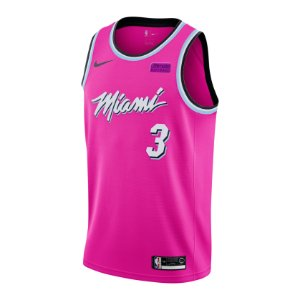 Camiseta Regata Esportiva Basquete NBA Miami Heat City Edition Vice pink Wade #3