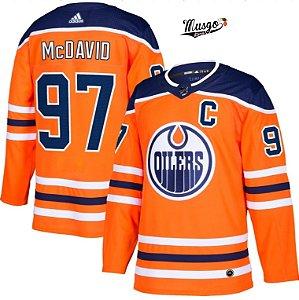 Camisa Esportiva Hockey NHL Edmonton Oilers Connor Mcdavid Numero 97 Laranja