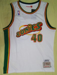Camiseta Regata Esportiva Basquete NBA Seattle SuperSonics Shaw Kemp Numero 40 Branca