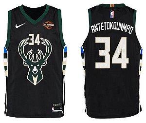 Camiseta Esportiva Regata Basquete NBA Milwalkee Bucks Giannis Antetokounmpo Numero 34 Preta