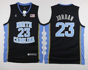 Camiseta Regata Basquete NCAA Universitario North Carolina Michael Jordan #23 Black