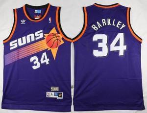 Camiseta Esportiva Regata Basquete NBA Phoenix Suns Charles Barkley Numero 34 roxa