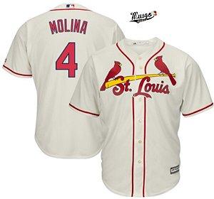 Camisa Esportiva Baseball MLB St. Louis Cardinals Yager Molina Número 4  Bege