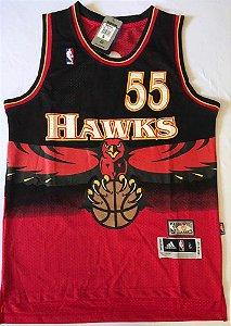 Camiseta Esportiva Regata Basquete NBA Atlanta Hawks Dikembe Mutombo Numero 55 Preta e Vermelha