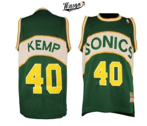 Camiseta Esportiva Regata Basquete NBA Seattle SuperSonics Shaw Kemp Número 40 verde