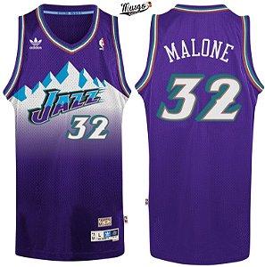 Camiseta Regata Basquete NBA Utah Jazz Karl Malone Número 32 Roxa
