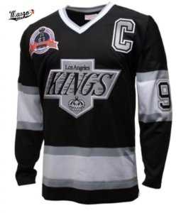 Camisa Esporte Hockey NHL Los Angeles Kings Wayne Gretzky Numero 99 Preta