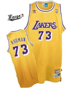 Camiseta Esportiva Regata Basquete NBA Los Angeles Lakers Dennis Rodman Numero 73 Amarela