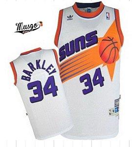 Camiseta Regata Esportiva Basquete NBA Phoenix Suns Charles Barkley Numero 34 Branca