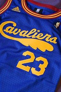 Camiseta Esportiva Regata Basquete NBA Cleveland Cavaliers Lebron James Número 23 Retro Azul