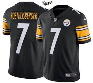 "Camisa Esportiva Futebol Americano NFL Pittsburgh Steelers ""Big Ben"" Roethlisberger #7 Preta"