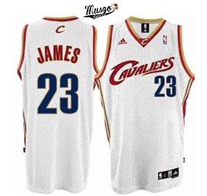 Camiseta Esportiva Regata Basquete NBA Cleveland Cavaliers 2007 Lebron James Numero 23 Branca