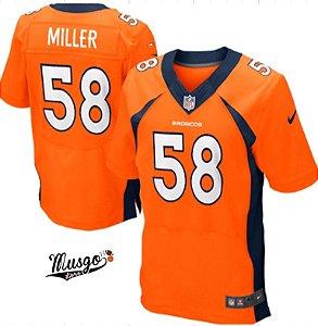 Camisa Esportiva Futebol Americano NFL Denver Broncos Von Miller Numero 58  Laranja