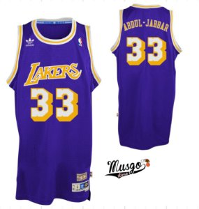 Camiseta Regata Esportiva Basquete NBA Los Angeles Lakers Kareen Abdul Jabbar Numero 33 Roxa