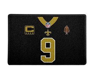 Tapete Capacho Esporte Futebol Americano NFL New Orleans Saints Preto