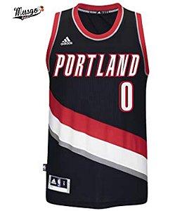 Camiseta Regata Basquete NBA Portland Trail Blazers Damien Lillard #0 Preta