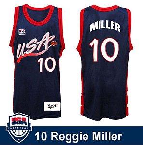 Camiseta Regata Basquete Seleção Americana Atlanta 1996 Reggie Miller Número 10 Azul