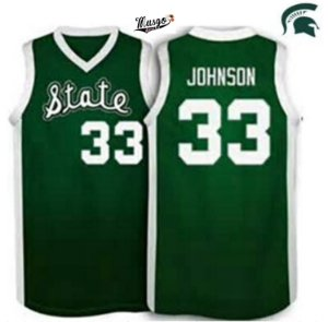 Camiseta Esportiva Regata Basquete Universitário Michigan State Magic Johnson Numero 33 Verde