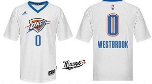 Camisa Basquete NBA Oklahoma City Thunder Russel Westbrook #0 Branca