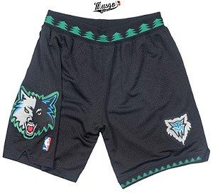 Bermuda Esportiva Basquete NBA Minnesota Timberwolves clássico Preto
