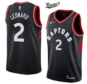 Camiseta Regata Esportiva  Basquete NBA Toronto Raptors Kawhi Leonard Número 2 Preta