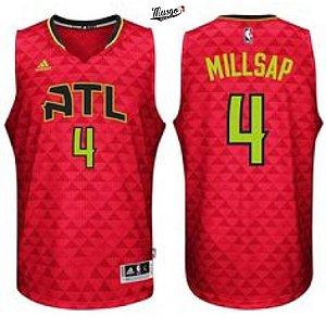 Camiseta Regata Basquete NBA Atlanta Hawks Paul Millsap Número 4 Vermelha e preta