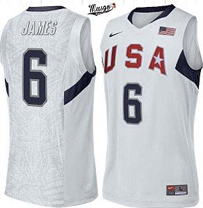 Camiseta Esportiva Regata Basquete Seleção Americana Olimpiadas Pequim 2008 Lebron James Número 6 Branca