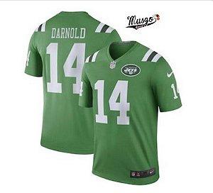 Camisa Esportiva Futebol Americano NFL New York Jets Darnolds Número 14 Verde