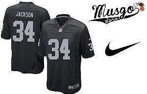 Camisa Esportiva Futebol Americano NFL Oakland Raiders Bo Jackson Número 34 Preta