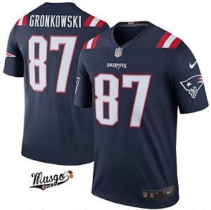 Camisa Esportiva Futebol Americano NFL New England Patriots Rob Gronkowski Número 87 Color Rush Azul