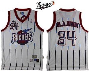Camiseta Regata Esportiva Basquete NBA Houston Rockets Hakeen Olajuwon Número 34 Branca Listrada