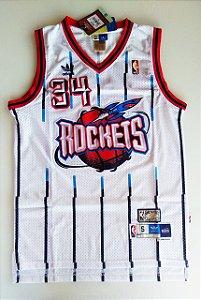 Camiseta Regata Basquete NBA Houston Rockets Hakeen Olajuwon Número 34 Branca Listrada