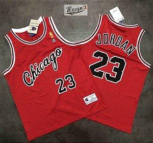 Camiseta Esportiva Regata Basquete NBA Chicago Bulls Michael Jordan Número 23 Vermelha temporada de calouro