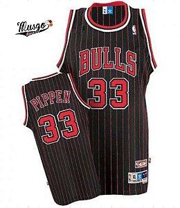 Camiseta Esportiva Regata Basquete NBA Chicago Bulls Scottie Pippen Número 33 Preta Listrada