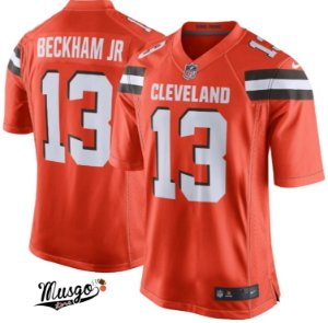 Camisa Esportiva NFL Futebol Americano Cleveland Browns Odell Beckham JR Número 13 Laranja