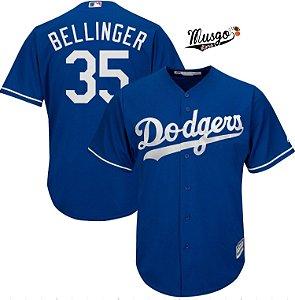 Camisa Esportiva Baseball MLB Los Angeles Dodgers Cody Bellinger Número 35 Azul