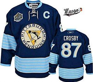 Camisa Esportiva Hockey NHL Pittsburgh penguins Sidney Crosby Número 87 Edição de inverno