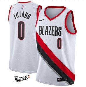 Camiseta Regata Esportiva Basquete NBA Portland Trail Blazers Damian Lillard Número O Branca