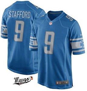 Camisa Esportiva Futebol Americano NFL Detroit Lions Mathew Stafford Número 9 Azul