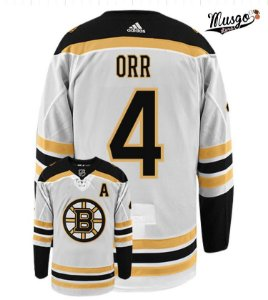 Camisa Esportiva Hockey NHL Boston Bruins Bobby Orr Número 4 Branca