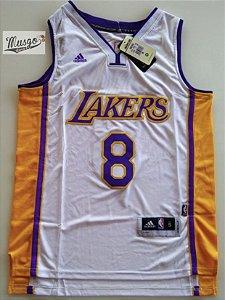 Camiseta Esportiva Basquete NBA Los Angeles Lakers Kobe Bryant Número 8 Branca