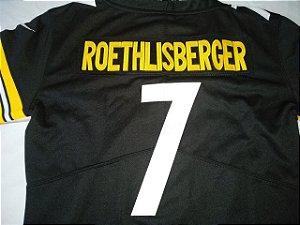 Camisa Esportiva Futebol Americano NFL pittsbirgh Steelers Feminina Big Ben Número 7 Preta