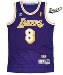 Camiseta Esportiva Regata Basquete NBA Los Angeles Lakers Kobe Bryant Número 8 Roxa