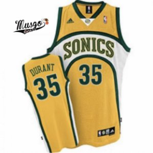 Camiseta Regata Esportiva Basquete Seattle SuperSonics Kevin Durant número 35 Amarela
